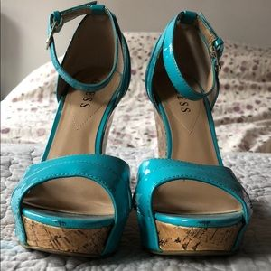 Guess turquoise wedge sandal